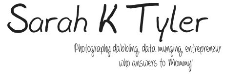 Sarah K Tyler - Photography dabbling, data munging entrepreneur who answers to mommy
